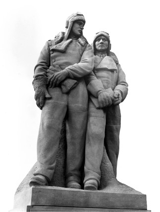 Memorial to Alcock and Brown at London Airport, 1976.