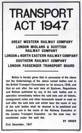 Transport Act, 31 December 1947.