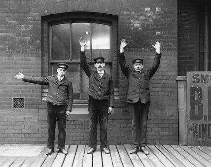 Hand signals, c 1910.