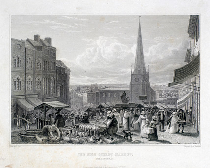 'The High Street Market, Birmingham', 1827.
