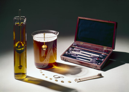 A selection of hydrometers, c 1870.