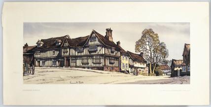 Lavenham, BR carriage print, c 1950s.