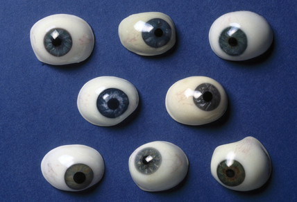 Collection of artificial eyes, French, 19th century.