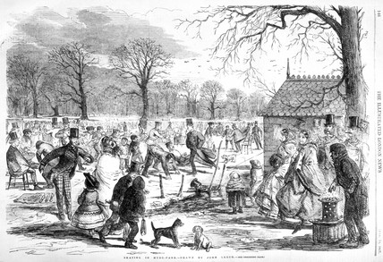 People skating in Hyde Park, 1857.