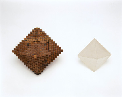 Hauy's wooden crystal model and a crystal of alum, c 1800.
