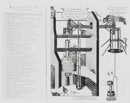 Newcomen's steam engine at Dudley Castle, West Midlands, 1719.
