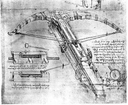 Technical drawing of a giant crosbow by Leonardo da Vinci, late 15th century.