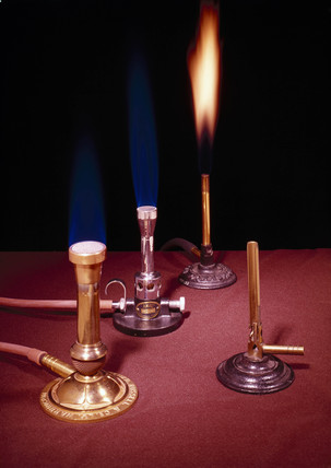 A selection of Bunsen burners, 1855-1910.