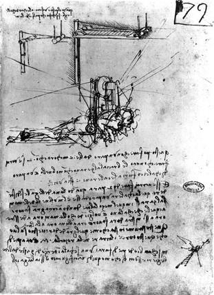 Design for a flying machine, by Leonardo da Vinci, late 15th century.