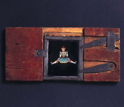Lever mechanism magic lantern slide, 19th century.