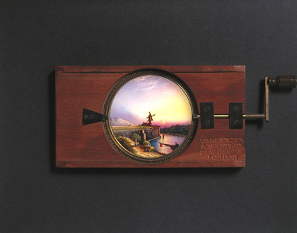 Combined lever and rotary mechanism magic lantern slide, 19th century.