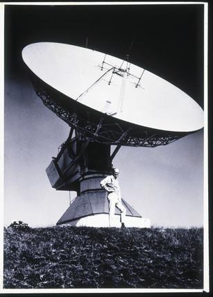 Arthur C Clarke with satellite dish, Sri Lanka.