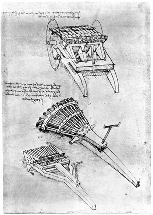 Drawing of multi-barrelled guns by Leonardo da Vinci, c 1500.