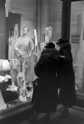 Two women window shopping for lingerie, c 1