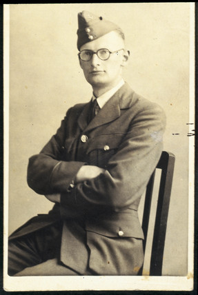 Arthur C Clarke wearing RAF uniform, c 1942.