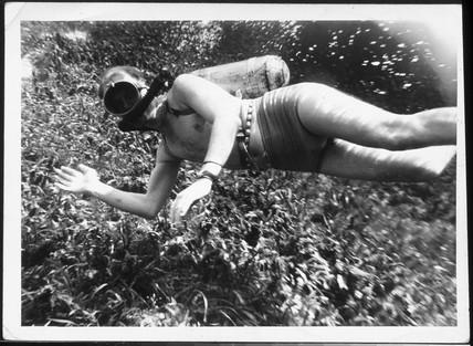 Arthur C Clarke diving, probably Sri Lanka.