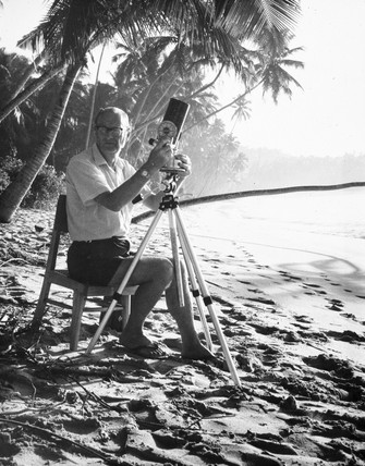 Arthur C Clarke with telescope, Sri Lanka.