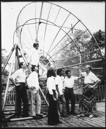 Arthur C Clarke with satellite dish, Sri Lanka.