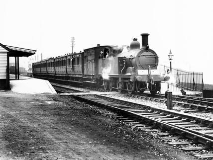Steam locomotive at Wellow, 1920. Somerset