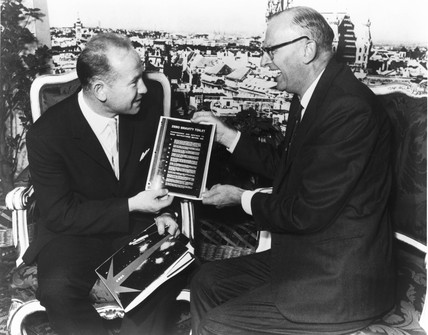 Arthur C Clarke with Leonov, Vienna, 1968.