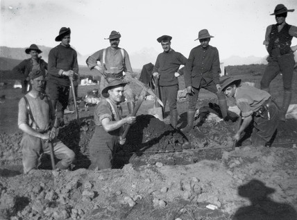 Soldiers digging a trench, Boer War, c 1900.
