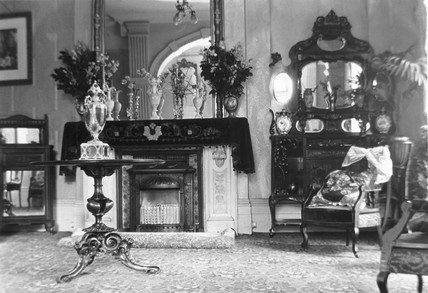 Fireplace in an Edwardian drawing room, c 1