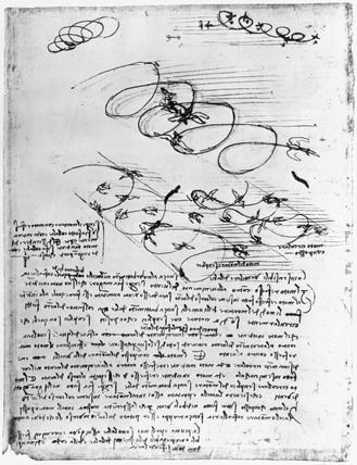 Notes and sketches by Leonardo da Vinci, late 15th century.