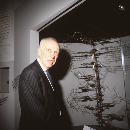 James Dewey Watson with his original DNA model, 9 June 1994.