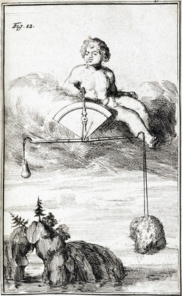 Cupid measuring humidity, 1688.
