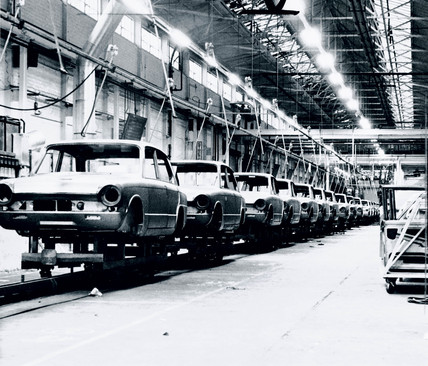 Line of Triumph Dolomites awaiting construction, Merseyside, 1965.