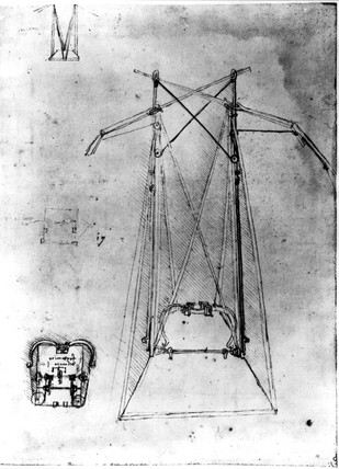 Design for a spring-operated flying machine by Leonardo da Vinci, c 1500.