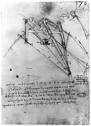 Designs for a flying machine, Leonardo da Vinci's notebook, 1470-1520..