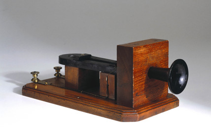 Early telephone by Alexander Graham Bell, 1877.