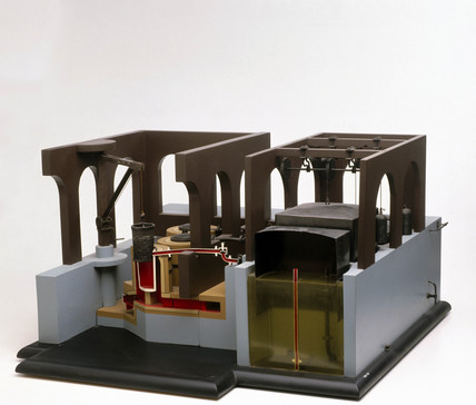 Model of first commercial Gas Works, c 1800.