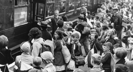 Evacuated schoolchildren leaving Clapham Junction, 1 September 1939.