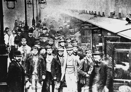 Workmen waiting at Liverpool Street Station, 25 October 1884.