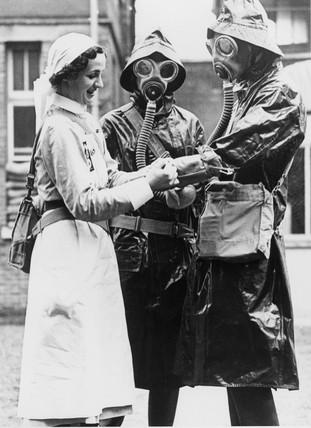Nurses in decontamination dres, 24 October 1939.
