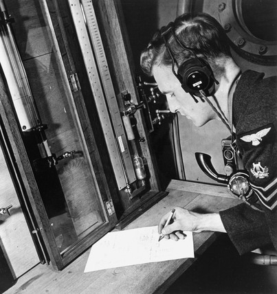 Royal Air Force aircraft controller at work