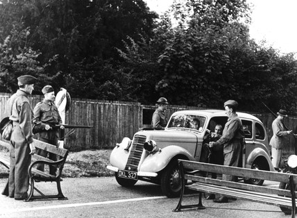 Home Guard road block, WWII. These members