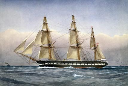 'HMS Glasgow', steam frigate, 1861.