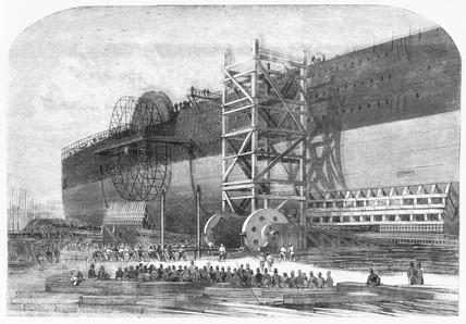 Launching gear used for 'Great Eastern', 1857.