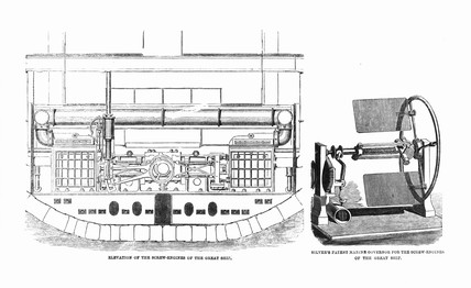 Elevation of screw engines and Silver's marine governor of the 'Great Eastern'.
