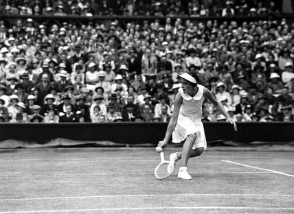 Mis J Hartigan in action at Wimbledon, 1935.