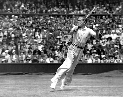 Tennis player Von Cramm in action against Fred Perry, 1935.