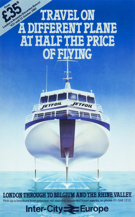 'Travel on a different plane at half the price of flying', BR poster, c 1980s.