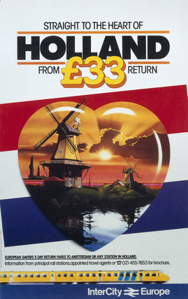 'Straight to the heart of Holland', British Rail poster, c 1980s.