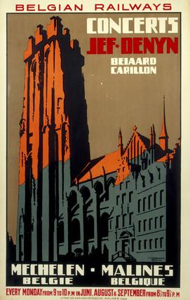 'Concerts', Belgian Railways poster, c 1930s.
