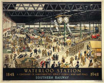 'Waterloo Station', Southern Railways poster, 1948.