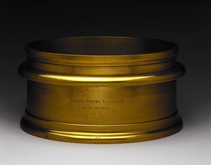 Bras standard half bushel volume measure, United States, 1840-1842.