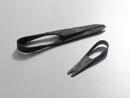Two pairs of scisors, Roman, c 201-500 AD.